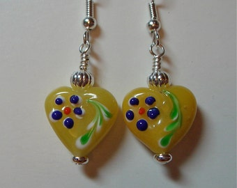 Opaque Yellow Glass Bead Heart Earrings with  silver