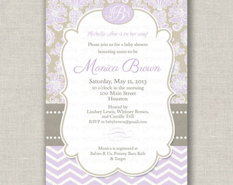 Baby Shower Girl Invitation Invite Chevron Lavender Damask - Printable DIGITAL - by girls at play girlsatplay