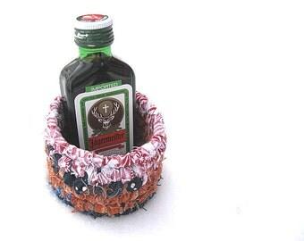 CRACKER JACK  shot glass sized cocktail inspired textile art BASKET