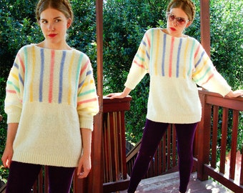 PASTEL Stripes 1980's Vintage Cream Oversized Batwing Sweater with Pink Blue and Yellow by Partners II size Large XL