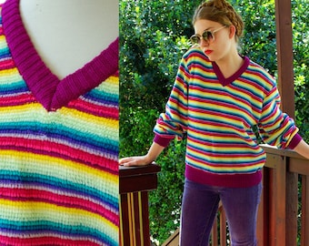 FUN Stripes 1970's 80's Vintage Rainbow Pink Purple Yellow V Neck Sweater by Partners size Medium