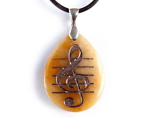 G-clef Treble Clef Music Symbol Necklace - Engraved Stone Pendant  - Yellow Jasper