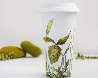 White Ceramic Coffee Eco-Cup - Fields of Grass Collection