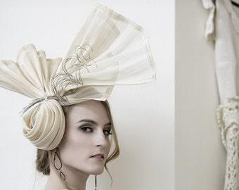 Kentucky Derby Hat Haute Couture Headpiece Summer Straw Racing Hat
