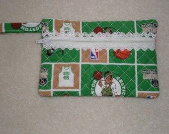Boston Celtics zippered wristlet wallet