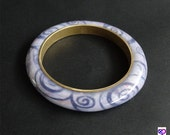 Swirls Bangle  BRACELET Subtle Colors Polymer Clay by Barbara Poland-Waters