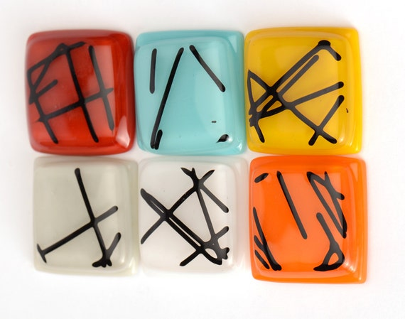 "Black Chopsticks on Your choice of colors 1 1/2"" square knob"