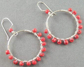Sterling Silver Hoops with Red Glass Beads