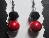"""Red Glass Pearl and Black Faceted Bead Earrings, Gunmetal Earwires, 1-3/4"""" from top of earwire"""