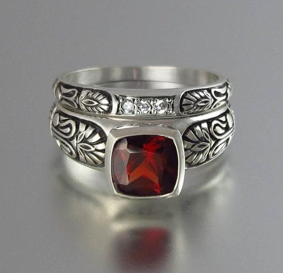 Engagement ring set ALEXANDRA 14K Garnet ring with matching band