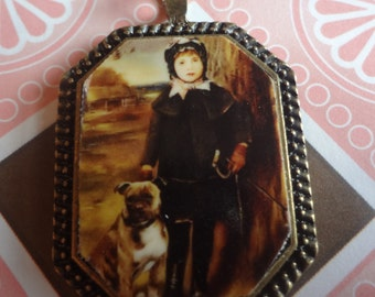 Girl with Pitbull Pendant Staffordshire Terrier Loyal Love Nanny Dog