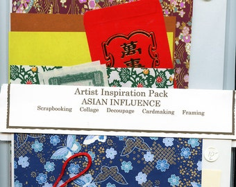Inspiration Pack ASIAN INFLUENCE for Scrapbooking Collage Crafts etc. Choose Blue or Maroon MORE AvAILABLE