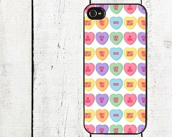 iphone 6 case Candy Hearts Cell Phone Case - Pattern iPhone 4 Case - Cell Phone Case - iPhone 5 Case - Valentine's Day