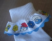 "Ruffle Socks Grosgrain 7/8""  Smurfs Smurfette Papa Smurf for Party Pageant Girl"