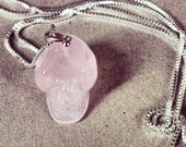 Betsy Blonde rose quartz and sterling silver skull necklace