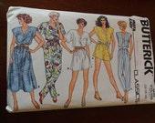 Vintage 80s Butterick 3825 Misses Dress and Jumpsuit Romper Pattern size 18 B38