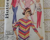 Vintage 60s Butterick 9805 Pants and Poncho Style Asymetrical Top Blouse Sewing Pattern size 9 B30.5