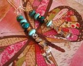 Chrysocolla and magnesite mermaid earrings
