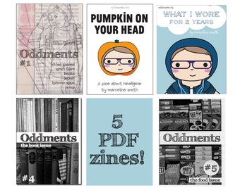 Oddments PDF Set - 5 Zines - food, books, Japan - writing and kawaii illustration