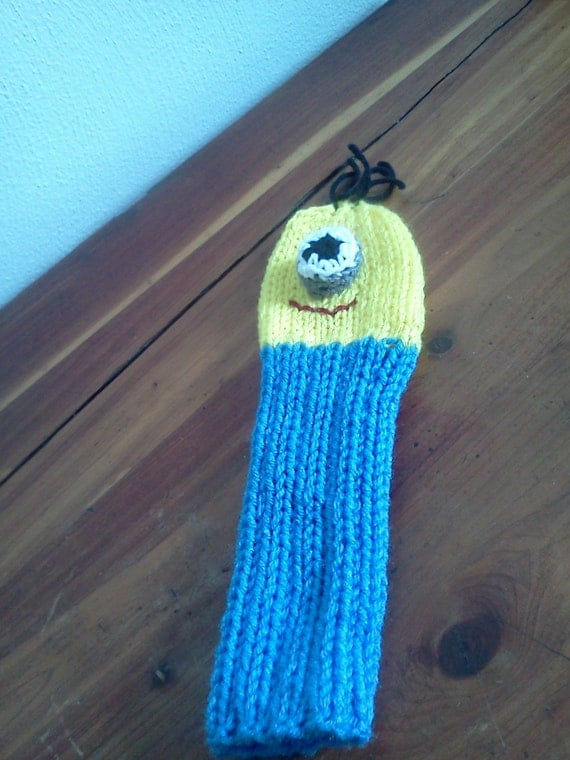Hand Knit MINION GOLF Club Head Cover Ready To Ship