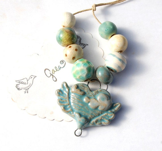 RESERVED for the lovely Megs / Wild Blue / Ceramic Winged Sky Heart Pendant and Bead Set