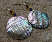 LARGE abalone shell / red, yellow, and blue glass bead earrings
