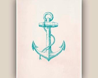 Green Turquoise Anchor Print,  Vintage image  print, Nautical art,  Mixed Media Collage  Print, Coastal Living, beach cottage decor
