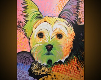 Original Abstract Painting Modern Animals Dog Dogs art ...18 x 24 ... Daisy, by Amy Giacomelli