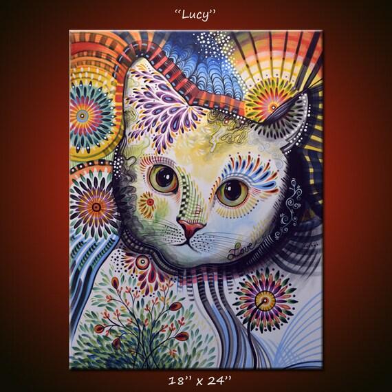 Art abstrait peinture moderne animaux chats chat original 18 - Tableau de chat moderne ...