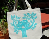 Cotton Canvas Owl Tote