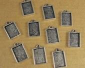 Mini Rectangle Single Loop Bezel Frame Trays - Set of Ten -  Antique Sterling Silver Finish