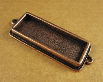 Double Loop Slim Rectangle Bezel Frame Tray in Antiqued Copper Finish for Pendants