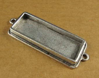 Double Loop Slim Rectangle Bezel Frame Tray in Antiqued Sterling Silver Finish for Pendants