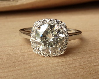 Round  Moissanite with Cushion Halo Ring