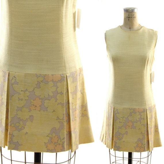 60s Mod Linen Go Go Girl Dress in Butter Yellow