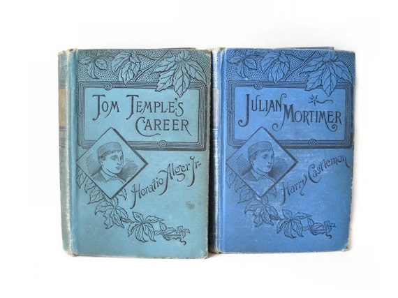 ON HOLD 2 Antique Blue Books, 1880s Illustrated, Instant Home Library Collection