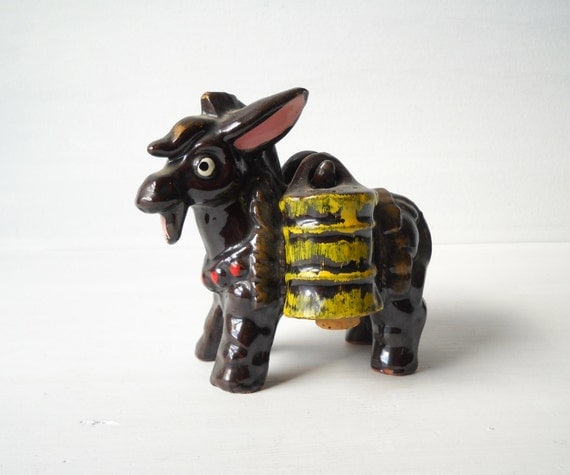 Vintage Redware Pottery Donkey Salt & Pepper Shaker Set