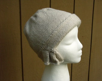 Knit Linen Cloche, hat cap knit women 20s flapper linen off-white tan beige