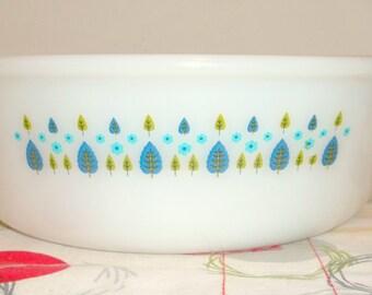 Swiss Chalet casserole dish by Fire King, Mixing Bowl, opal, aqua, blue, turquoise, green, Alpine