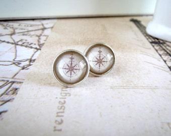 Map Compass Earrings