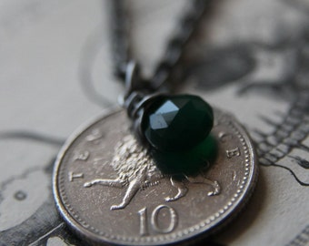 Green Lion Necklace with Vintage Coin and Green Onyx