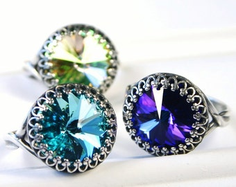 Swarovski Crystal Cocktail Ring Bold Heliotrope Purple Bright Turquoise Luminous Citrine Mint Green  You Choose Color and Finish Sparkle