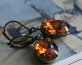 Dangle Earrings, Vintage Jewels, Amber, Topaz Glamour, Retro, Old Hollywood Collection, Gatsby