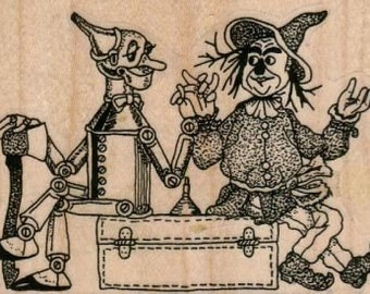 wizard of oz    rubber stamp scrapbooking supplies number 9076 OZ TinMan and Scarecrow