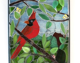 Glass Mosaic Wall Art - Being One (with Nature), Artisan Mixed Media Stained Glass Art, Red Cardinal, Bird Art, Art for Nature Lover