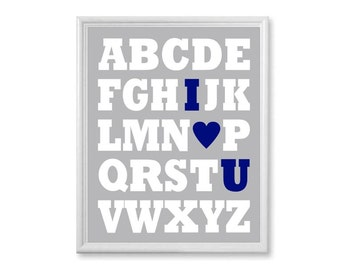 Alphabet I Love You, Navy Nursery Alphabet Print With Heart, Kids Wall Art - ABC Picture - Grey and Navy 8x10, Block Letters, Boys Playroom