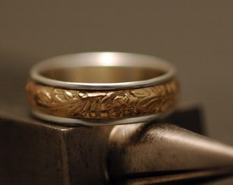 Spinner Ring - Floral and Scroll - 14K Gold Filled and Sterling Silver - Made to Order in Your Size