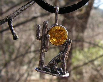 Sterling Silver Coyote Pendant With Golden Citrine