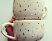 raindrop latte mug set - hand painted with lovely colorful drops