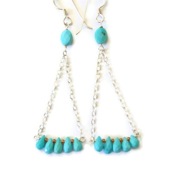 Chain Earrings Sleeping Beauty Turquoise Briolettes Sterling Silver Long Dangles